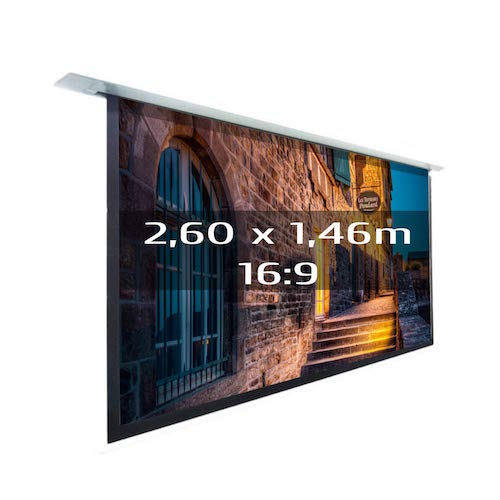 KIMEX 048-1515 Pantalla de proyección eléctrica empotrable 2,60x1,46m, formato 16/9