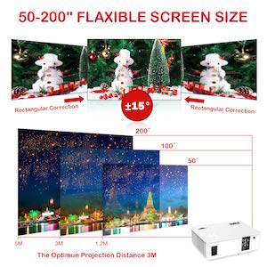 proyector de video wimius p 18 pantalla de 50 a 200 pulgadas